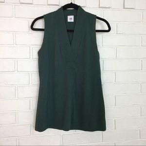 CAbi Small Green V-Neck Sleeveless Top